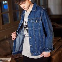 【2件2.5折】唐狮秋季牛仔外套男学生韩版潮流帅气牛仔衣短款修身牛仔夹克