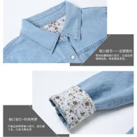 牛仔衬衫女春秋韩版长袖大码棉修身打底衬衣女薄款学生外套 浅蓝色 S建议90斤以内