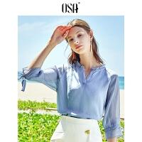 【过年3折价:120.4】OSA欧莎2019夏季新款很仙的上衣洋气小衫时尚打底衫V领雪纺衫女