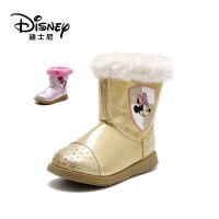 鞋柜/迪士尼童鞋女童雪地靴秋冬皮靴时装靴