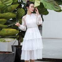 蕾丝连衣裙女2019春夏新款网纱仙女裙修身小个子法国小众蛋糕裙子