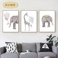 印花十字绣新款客厅小幅简约现代三联画吉象福鹿简单新手可爱动物SN7233