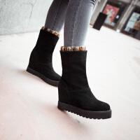 彼艾2017秋冬新款女鞋厚底防滑中筒靴保暖时尚内增高女棉靴中筒靴靴子