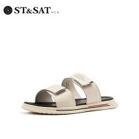 St&Sat/星期六简约一字型拖鞋平底休闲男拖鞋SS92124801