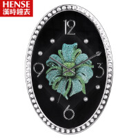 汉时钟表 挂钟 个性时钟创意静音钟表时尚钻石椭圆挂表客厅石英钟 HW91