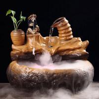 客厅流水喷泉加湿器姜太公陶瓷摆件办公室书房摆设创意开业礼品