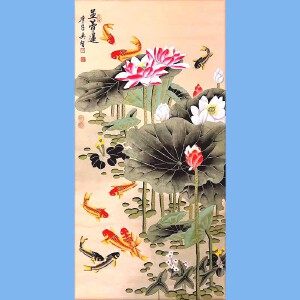 中国当代书画艺术名家,作品已有千件被国内外知名大家收藏田奕智(并蒂莲)