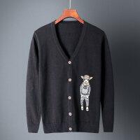 男士棉针织衫开衫休闲韩版2018秋季V领外搭上衣刺绣毛衣外套潮