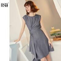 【过年3折价:189】OSA欧莎2019夏装新款女装中长款收腰显瘦圆领连衣裙