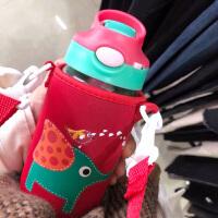 卡通玻璃杯带吸管韩版原宿大容量水杯子男女学生防漏便携创意水壶400ML