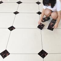自粘地砖瓷砖对角耐磨贴 地面防水耐磨对角贴客厅卫生间地砖装饰地贴地板纸 金色 美缝贴1厘米*50米 中