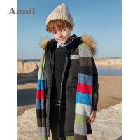 【3件3折 �A估券后�r:331】安奈�和��b男童羽�q服中�L款冬季新款大衣保暖毛�I�B帽厚外套