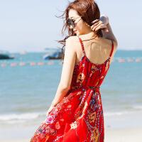 吊带连衣裙夏2019新款女露背性感海边度假超仙巴厘岛度假裙沙滩裙