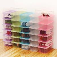 防尘透明鞋盒 彩色翻盖女鞋盒 加厚带盖塑料鞋子收纳盒 34.5x20x12.5cm