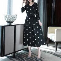 女装连衣裙胖mm2019春装新款女洋气大码波点显瘦胖妹妹雪纺遮肚连衣裙减龄冬 黑 色