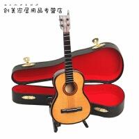 迷你古典吉他模型创意摆件迷你乐器模型吉他盒娃娃饰品道具创意 15cm 送皮盒和支架