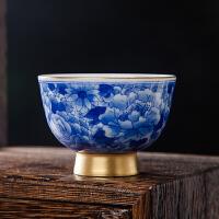 茶杯主人杯功夫茶具手绘陶瓷青花瓷描金手工品茗杯景德镇单杯
