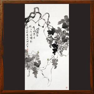 写意葡萄画《虬(qiu)藤百年 瑞气千秋》于洪顺 实力派画师【R4465】(虬-卷曲的意思)