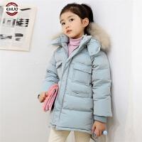 儿童棉衣真毛领2018新款冬季韩版厚款保暖棉袄中大童女孩