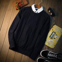 衬衫领毛衣男2018秋季男士套头针织衫假两件线衫韩版修身拼接线衣