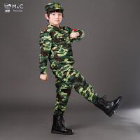 春夏儿童迷彩服男女童绿色军训服套装小孩表演服中学生军装演出服