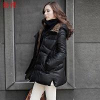 羽绒服女中长款2019冬季韩版修身加厚轻薄大码女装羽绒服外套