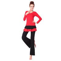广场舞服装拉丁舞长袖套装秋冬新款瑜伽服舞蹈服女莫代尔