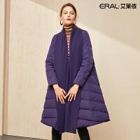艾莱依2019冬季新款韩版系带翻领羽绒服女大衣中长款601801290