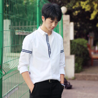 新款秋季韩版小清新休闲衬衫男女修身文艺长袖学生打底白衬衣潮流 白色