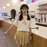 套装女夏学生森系少女可爱百搭短袖T恤高腰垂坠感短裤裙两件套潮 均码