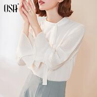 【2件3折价:139.3】OSA欧莎白色荷叶袖雪纺衬衫2019新款秋装洋气长袖小衫气质百搭