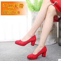 20180826234221644新娘鞋红色2018新款高跟防水台秋季婚鞋女中跟孕妇粗跟结婚红鞋子