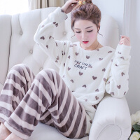 珊瑚绒睡衣女士长袖套头卡通套装韩版秋冬季加厚法兰绒睡衣家居服