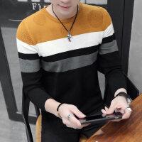 秋季薄款圆领毛衣男韩版修身帅气条纹毛线衣个性男士针织打底线衫