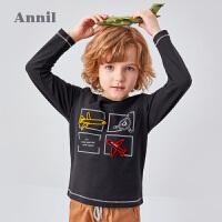 【3件3折价:50.7】专柜同款商场同款安奈儿童装男童T恤2020新款洋气卡通春秋装男孩卫衣纯棉