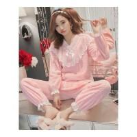 珊瑚绒睡衣女秋冬季韩版宽松可爱公主风法兰绒加厚保暖家居服套装 粉红色 880法兰绒