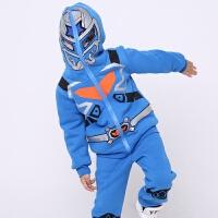 铠甲勇士童装男童秋冬装休闲套装儿童加绒加厚卫衣两件套 铠甲勇士蓝色