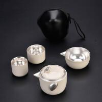 纯银鎏银盖碗窑变快客杯旅行茶具套装便携包式一壶二杯旅游整套功夫茶具茶道泡茶器