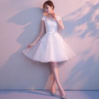 晚礼服女2018新款夏季伴娘短款显瘦宴会名媛小礼服连衣裙短袖优雅