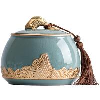 哥�G陶瓷茶�~罐大小�密封罐家用普洱茶�~�Υ婀拗惺讲枞~盒存茶罐