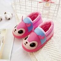 儿童棉拖鞋冬季卡通包跟男童女童防滑家居鞋宝宝PU皮防水保暖棉鞋