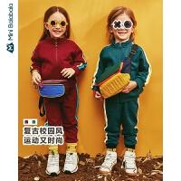 【31日0点开抢 4折价:120】迷你巴拉巴拉儿童套装男童校园风长袖套装秋装新款复古两件套