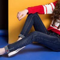 加绒牛仔裤女秋冬韩版显瘦修身高腰女士长裤弹力小脚裤