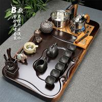 茶具套装黑檀实木茶盘陶瓷紫砂整套功夫茶杯套装全自动快速炉家用