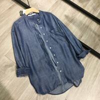 薄款天丝牛仔衬衫女春夏中长款韩版宽松大码前短后长长袖上衣外套 蓝色