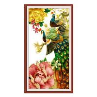 印花十字绣新款客厅玄关竖版花开富贵牡丹孔雀图简约半绣