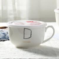 大号陶瓷碗拉面方便面泡面碗泡面杯饭盒日式餐具带盖勺筷