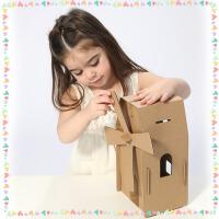 20190702080810602纸板 手工 幼儿园手工制作纸制涂色纸板房子模型diy 纸箱玩具拼装飞机车