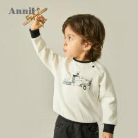 专柜同款安奈儿童装儿童圆领长袖卫衣春装新款男宝宝洋气印花套头上衣韩版3