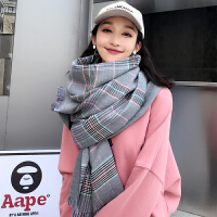 仿羊绒围巾女秋冬季新长款加厚保暖英伦格子学生披肩百搭韩版围脖